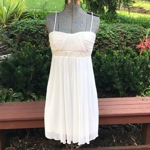 City Triangles White Party Dress w/Sequins & Beads